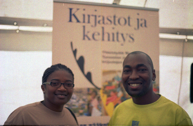 Maria (32, Namibia) and Comfort (27, Tanzania) <br> <small> The Finish-library-Association build libraries in countries like Namibia and Tanzania to support education. Once a year, they organise seminars as well.</small>