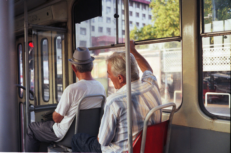 Old men on a tram in Belgrade